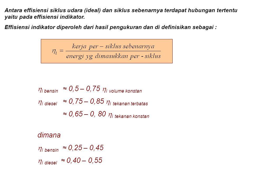 Antara effisiensi siklus udara (ideal) dan siklus sebenarnya terdapat hubungan tertentu yaitu pada effisiensi indikator. Effisiensi indikator diperole