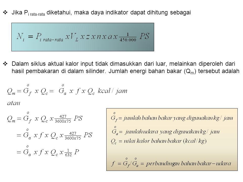 Jika P i rata-rata diketahui, maka daya indikator dapat dihitung sebagai  Dalam siklus aktual kalor input tidak dimasukkan dari luar, melainkan dip