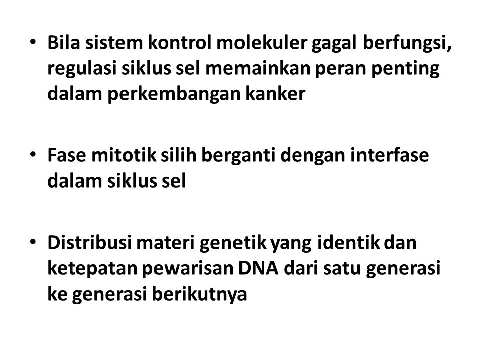 Berdasarkan jumlah kromosom sel terdiri dari: sel somatik (46 kromosom) sel gamet (23 kromosom) Sel somatik membelah secara mitosis, sel gamet membelah secara miosis Kromosom terbuat dari kromatin, kompleks DNA dan molekul2 protein terkait yang mempertahankan struktur kromosom dan membantu mengontrol aktivitas gen