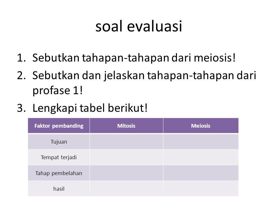 soal evaluasi 1.Sebutkan tahapan-tahapan dari meiosis! 2.Sebutkan dan jelaskan tahapan-tahapan dari profase 1! 3.Lengkapi tabel berikut! Faktor pemban