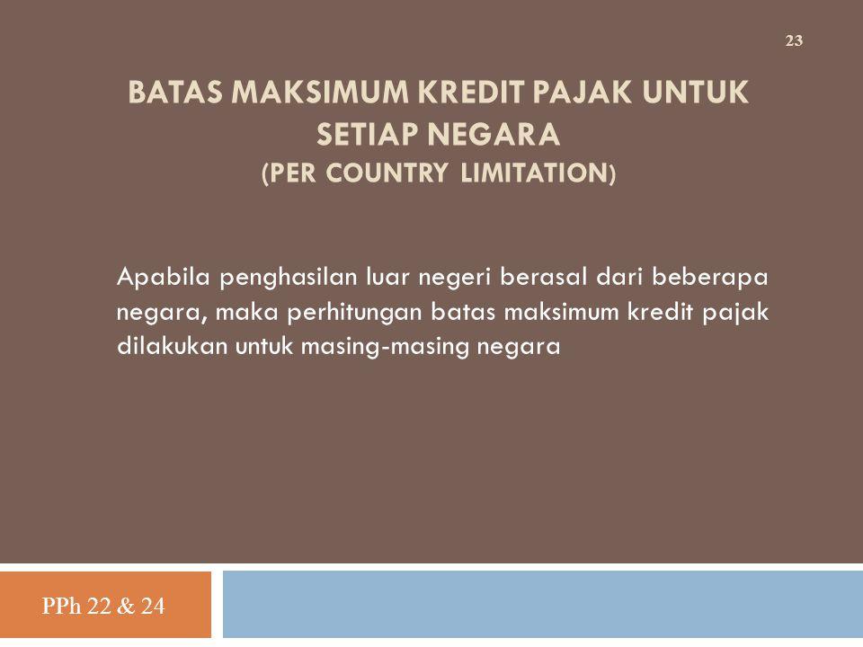 BATAS MAKSIMUM KREDIT PAJAK UNTUK SETIAP NEGARA (PER COUNTRY LIMITATION ) Apabila penghasilan luar negeri berasal dari beberapa negara, maka perhitung
