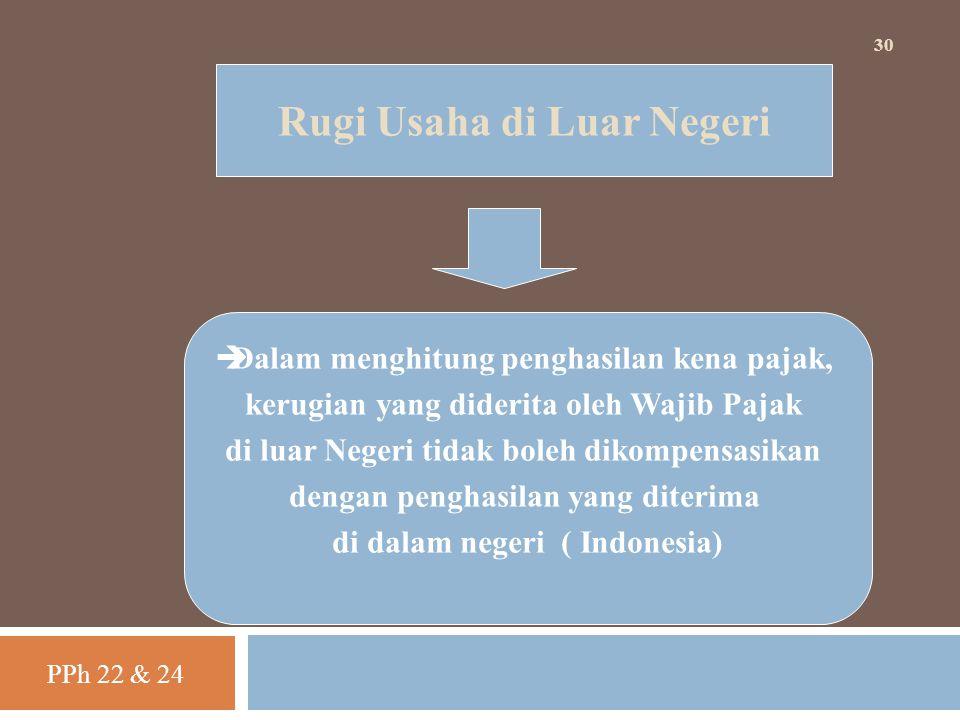 PPh 22 & 24 30 Rugi Usaha di Luar Negeri  Dalam menghitung penghasilan kena pajak, kerugian yang diderita oleh Wajib Pajak di luar Negeri tidak boleh