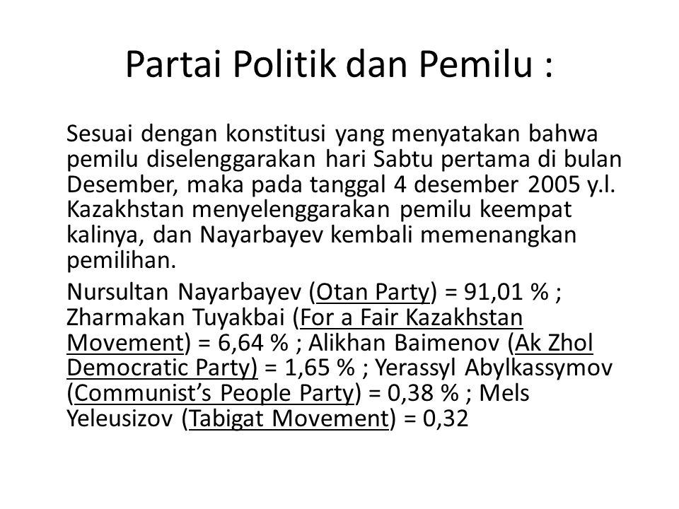 Partai Politik dan Pemilu : Sesuai dengan konstitusi yang menyatakan bahwa pemilu diselenggarakan hari Sabtu pertama di bulan Desember, maka pada tang
