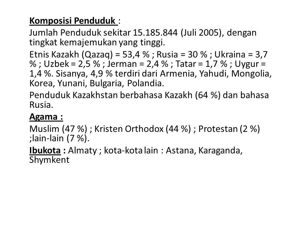 Komposisi Penduduk : Jumlah Penduduk sekitar 15.185.844 (Juli 2005), dengan tingkat kemajemukan yang tinggi. Etnis Kazakh (Qazaq) = 53,4 % ; Rusia = 3