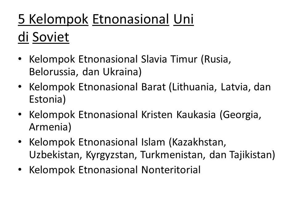 5 Kelompok Etnonasional Uni di Soviet Kelompok Etnonasional Slavia Timur (Rusia, Belorussia, dan Ukraina) Kelompok Etnonasional Barat (Lithuania, Latv