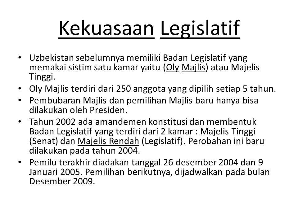 Kekuasaan Legislatif Uzbekistan sebelumnya memiliki Badan Legislatif yang memakai sistim satu kamar yaitu (Oly Majlis) atau Majelis Tinggi. Oly Majlis