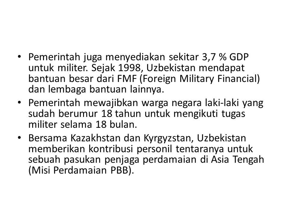 Pemerintah juga menyediakan sekitar 3,7 % GDP untuk militer. Sejak 1998, Uzbekistan mendapat bantuan besar dari FMF (Foreign Military Financial) dan l