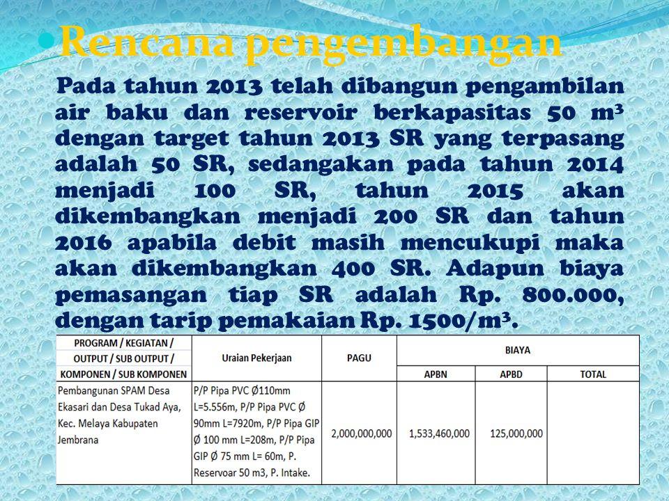 Rencana pengembangan Pada tahun 2013 telah dibangun pengambilan air baku dan reservoir berkapasitas 50 m 3 dengan target tahun 2013 SR yang terpasang adalah 50 SR, sedangakan pada tahun 2014 menjadi 100 SR, tahun 2015 akan dikembangkan menjadi 200 SR dan tahun 2016 apabila debit masih mencukupi maka akan dikembangkan 400 SR.