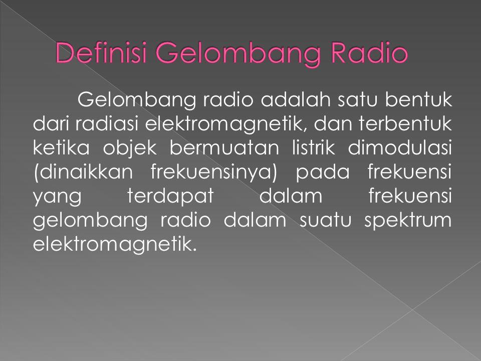 Gelombang radio merambat pada frekuensi 100 kHz sampai 100 GHz, sementara gelombang audio merambat pada frekuensi 20 Hz sampai 20 kHz.