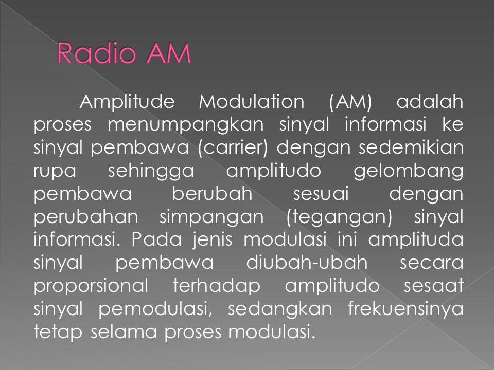 Amplitude Modulation (AM) adalah proses menumpangkan sinyal informasi ke sinyal pembawa (carrier) dengan sedemikian rupa sehingga amplitudo gelombang