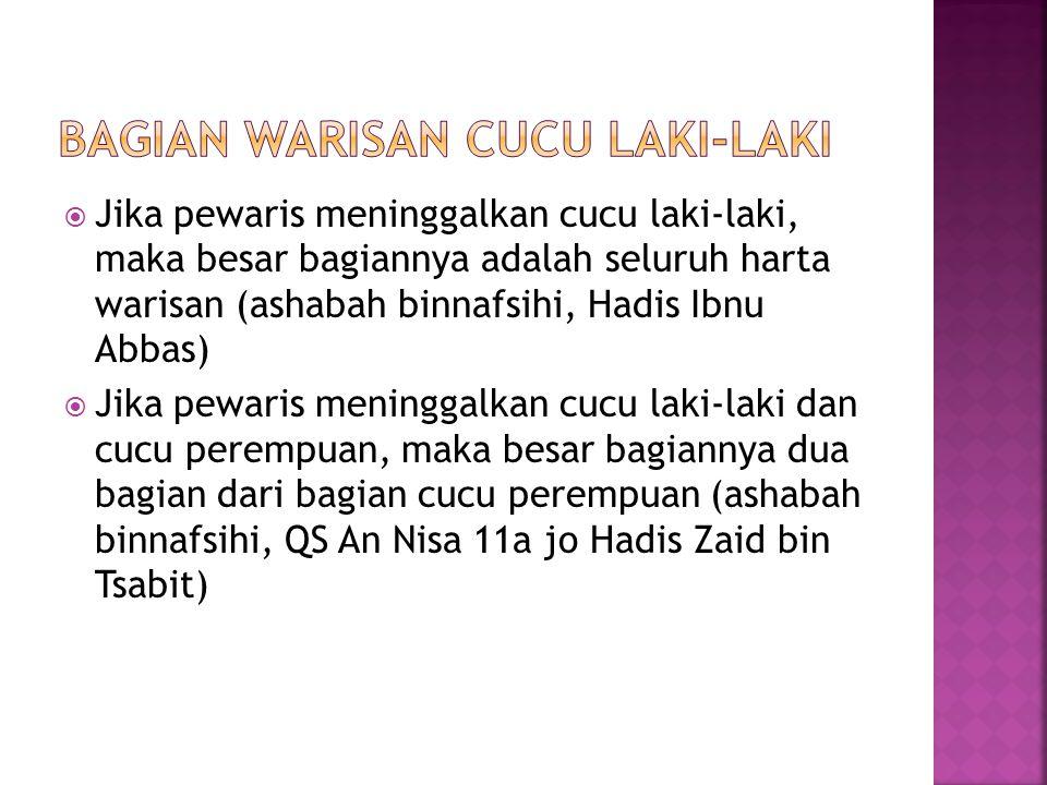  Jika pewaris meninggalkan cucu laki-laki, maka besar bagiannya adalah seluruh harta warisan (ashabah binnafsihi, Hadis Ibnu Abbas)  Jika pewaris meninggalkan cucu laki-laki dan cucu perempuan, maka besar bagiannya dua bagian dari bagian cucu perempuan (ashabah binnafsihi, QS An Nisa 11a jo Hadis Zaid bin Tsabit)