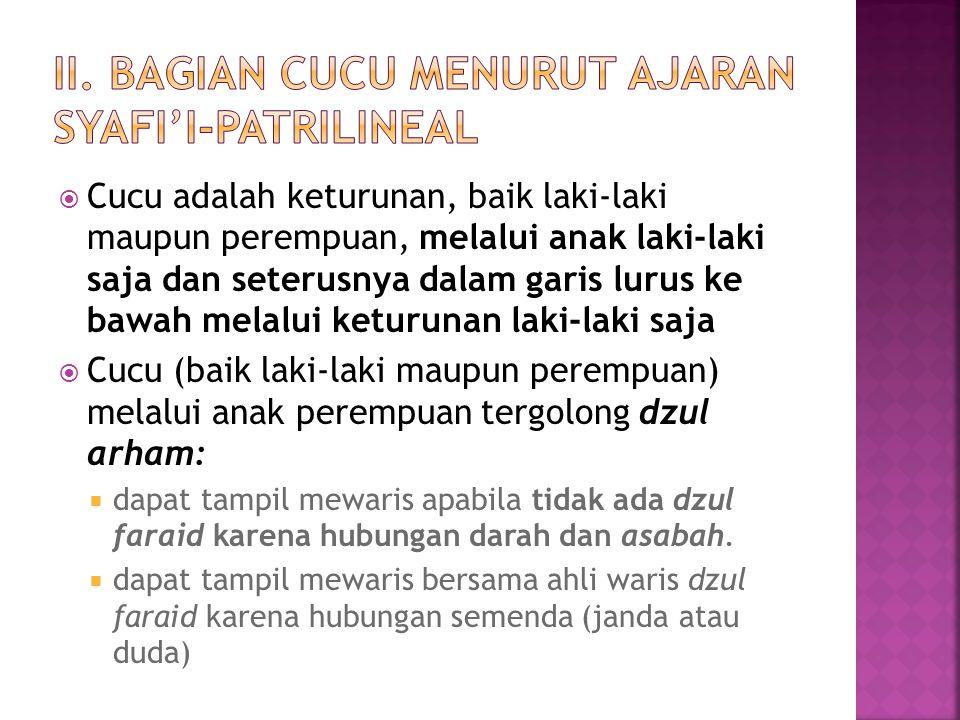  Jika cucu perempuan mewaris bersama seorang anak perempuan, maka besar bagiannya adalah 1/6 sebagai penyempurna 2/3 (takmilah) bersama anak perempuan itu (zul faraidh, Hadis Ibnu Mas'ud)  Jika pewaris meninggalkan anak perempuan (satu orang atau lebih) dan tidak meninggalkan anak laki-laki, dan cucu perempuan bersama cucu laki-laki, maka bagian anak perempuan adalah sebagaimana ia berkedudukan sebagai anak perempuan, dan bagian cucu perempuan adalah satu bagian dari dua bagian cucu laki-laki (ashabah bil ghairi, QS An Nisa ayat 11 jo Hadis Zaid bin Tsabit)