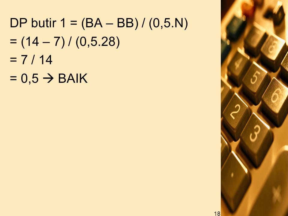 DP butir 1 = (BA – BB) / (0,5.N) = (14 – 7) / (0,5.28) = 7 / 14 = 0,5  BAIK 18