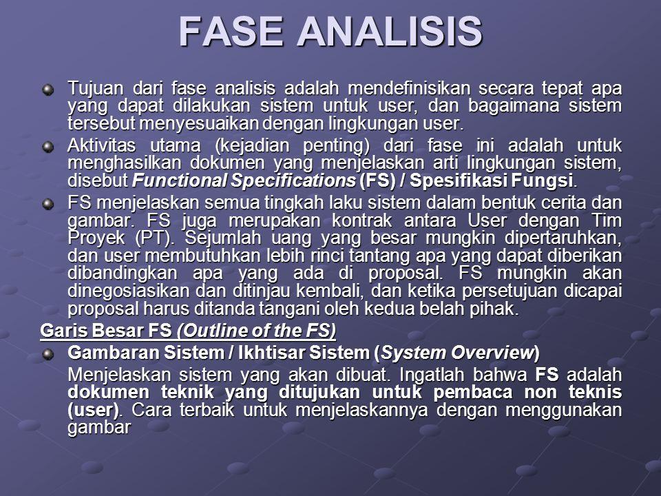FASE ANALISIS Tujuan dari fase analisis adalah mendefinisikan secara tepat apa yang dapat dilakukan sistem untuk user, dan bagaimana sistem tersebut m