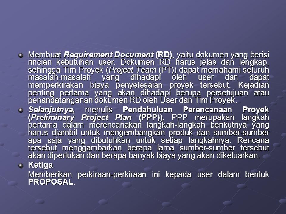 Membuat Requirement Document (RD), yaitu dokumen yang berisi rincian kebutuhan user. Dokumen RD harus jelas dan lengkap, sehingga Tim Proyek (Project