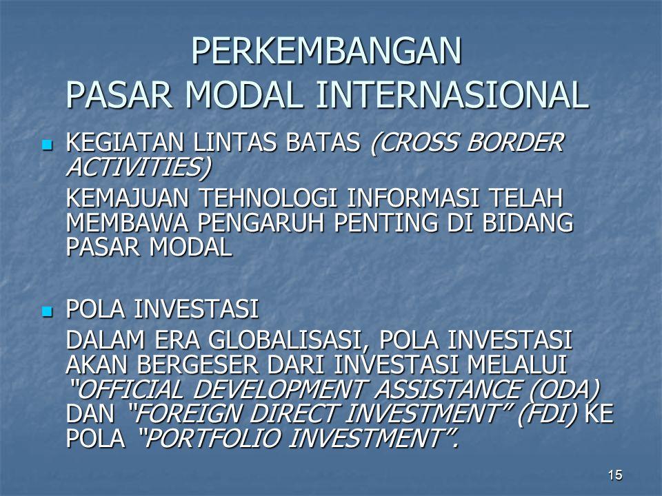 15 PERKEMBANGAN PASAR MODAL INTERNASIONAL KEGIATAN LINTAS BATAS (CROSS BORDER ACTIVITIES) KEGIATAN LINTAS BATAS (CROSS BORDER ACTIVITIES) KEMAJUAN TEHNOLOGI INFORMASI TELAH MEMBAWA PENGARUH PENTING DI BIDANG PASAR MODAL POLA INVESTASI POLA INVESTASI DALAM ERA GLOBALISASI, POLA INVESTASI AKAN BERGESER DARI INVESTASI MELALUI OFFICIAL DEVELOPMENT ASSISTANCE (ODA) DAN FOREIGN DIRECT INVESTMENT (FDI) KE POLA PORTFOLIO INVESTMENT .