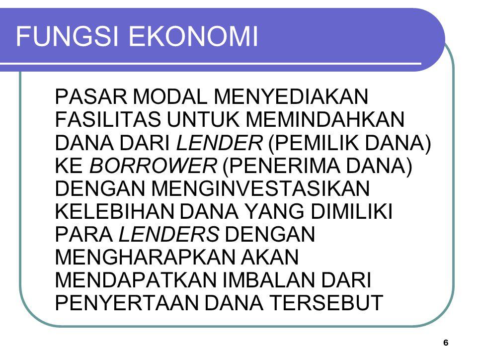 6 FUNGSI EKONOMI PASAR MODAL MENYEDIAKAN FASILITAS UNTUK MEMINDAHKAN DANA DARI LENDER (PEMILIK DANA) KE BORROWER (PENERIMA DANA) DENGAN MENGINVESTASIK