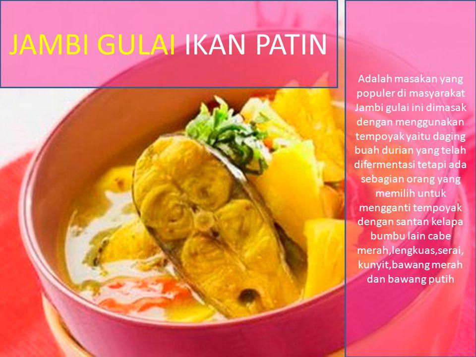 JAMBI GULAI IKAN PATIN Adalah masakan yang populer di masyarakat Jambi gulai ini dimasak dengan menggunakan tempoyak yaitu daging buah durian yang tel