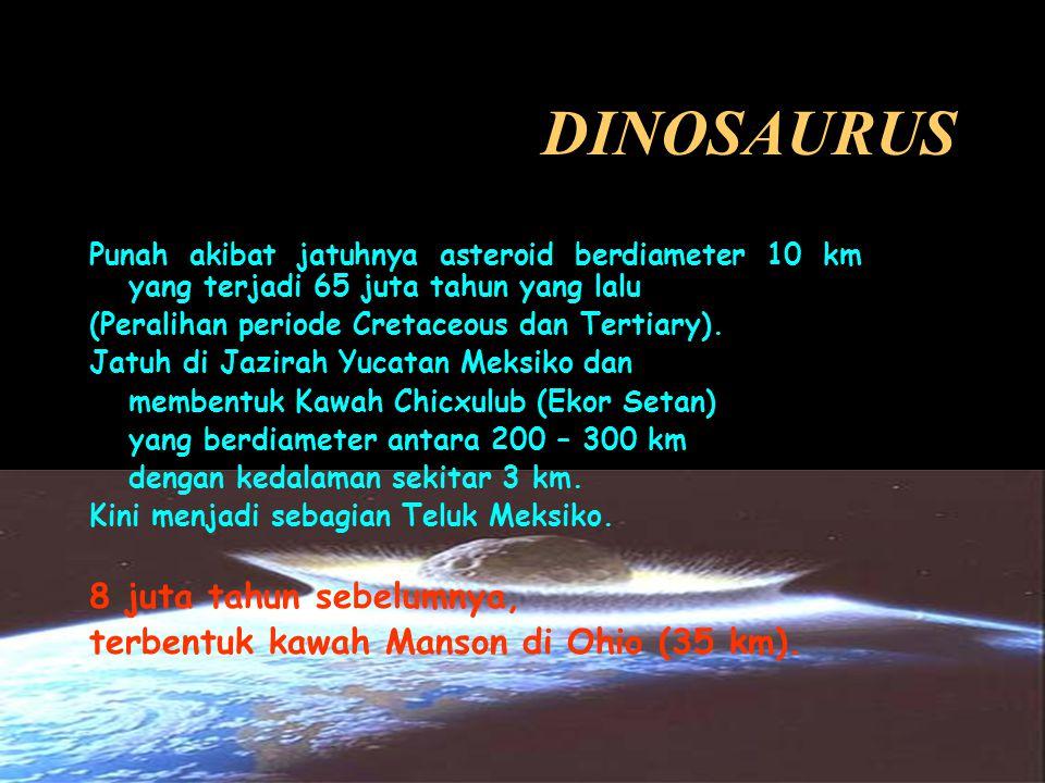 DINOSAURUS Punah akibat jatuhnya asteroid berdiameter 10 km yang terjadi 65 juta tahun yang lalu (Peralihan periode Cretaceous dan Tertiary).