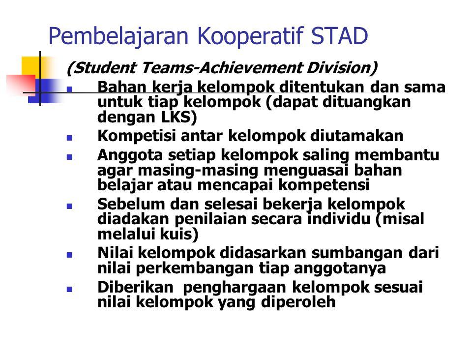 Pembelajaran Kooperatif NHT (Numbered Head Together) Tiap anggota kelompok diberi nama Guru memberi tugas/pertanyaan Tiap kelompok bermusyawarah menye