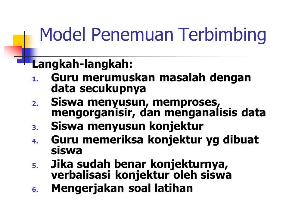 PEMBELAJARAN BERBASIS MASALAH Langkah-langkah: 1. Orientasi siswa pd masalah 2. Mengorganisasikan siswa untuk belajar 3. Membimbing penyelidikan indiv