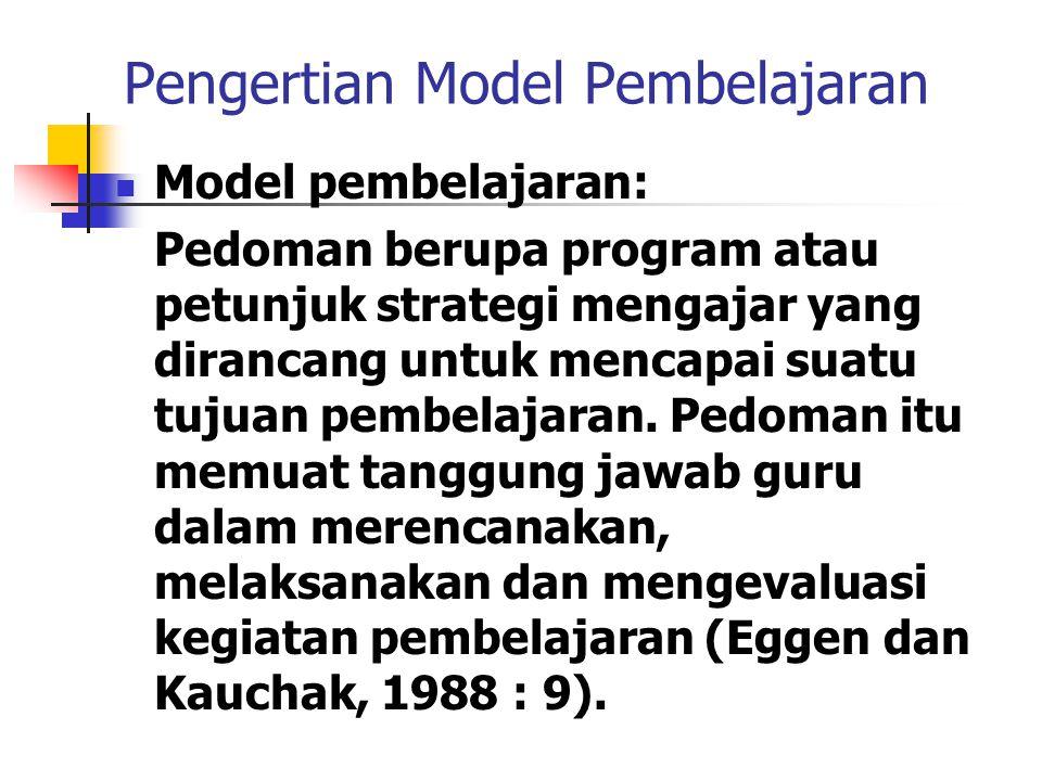 Pengertian Model Pembelajaran Model pembelajaran: Pedoman berupa program atau petunjuk strategi mengajar yang dirancang untuk mencapai suatu tujuan pembelajaran.