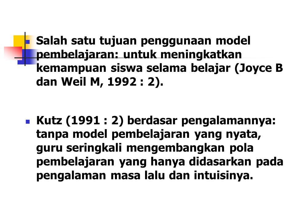 Salah satu tujuan penggunaan model pembelajaran: untuk meningkatkan kemampuan siswa selama belajar (Joyce B dan Weil M, 1992 : 2).