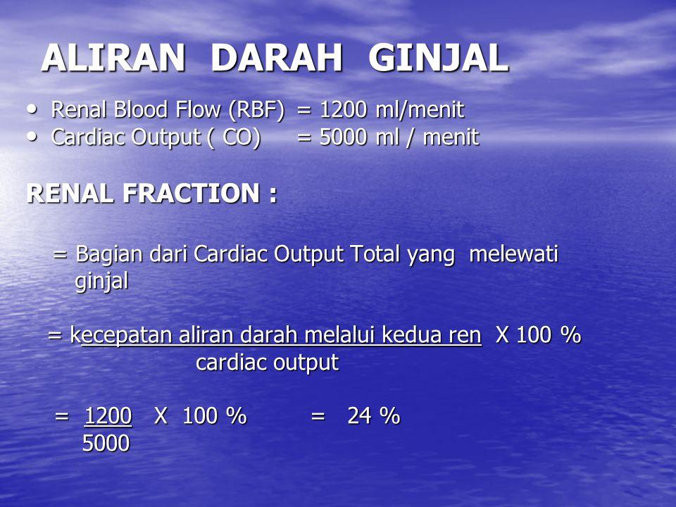 ALIRAN DARAH GINJAL Renal Blood Flow (RBF)= 1200 ml/menit Renal Blood Flow (RBF)= 1200 ml/menit Cardiac Output ( CO)= 5000 ml / menit Cardiac Output ( CO)= 5000 ml / menit RENAL FRACTION : = Bagian dari Cardiac Output Total yang melewati = Bagian dari Cardiac Output Total yang melewati ginjal ginjal = kecepatan aliran darah melalui kedua ren X 100 % = kecepatan aliran darah melalui kedua ren X 100 % cardiac output cardiac output = 1200 X 100 % = 24 % = 1200 X 100 % = 24 % 5000 5000