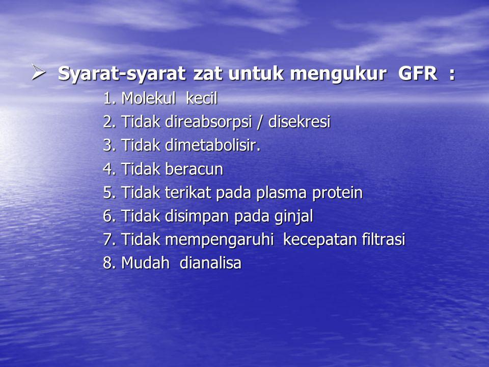  Syarat-syarat zat untuk mengukur GFR : 1.Molekul kecil 2.Tidak direabsorpsi / disekresi 3.Tidak dimetabolisir.
