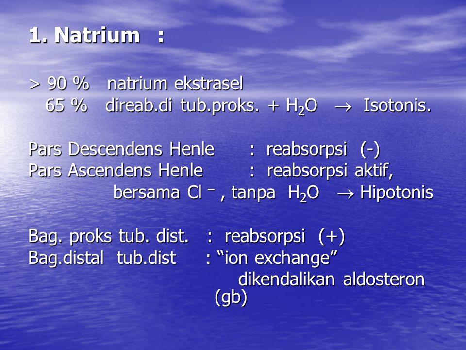 1.Natrium : > 90 % natrium ekstrasel 65 % direab.di tub.proks.