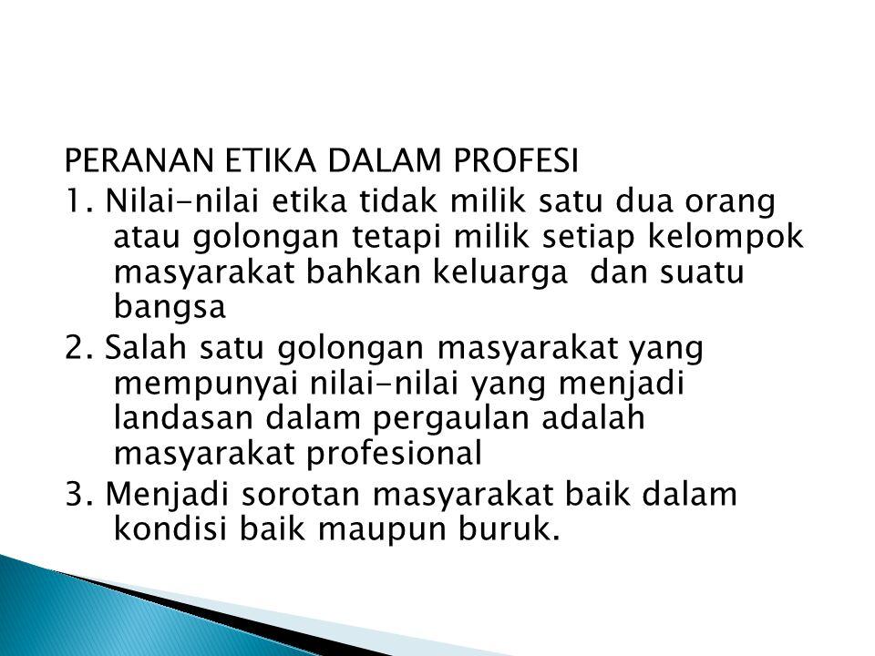 Syarat-Syarat Suatu Profesi: 1. Melibatkan kegiatan intelektual 2. Menggeluti suatu batang tubuh ilmu yang khusus 3. Memerlukan persiapan profesional