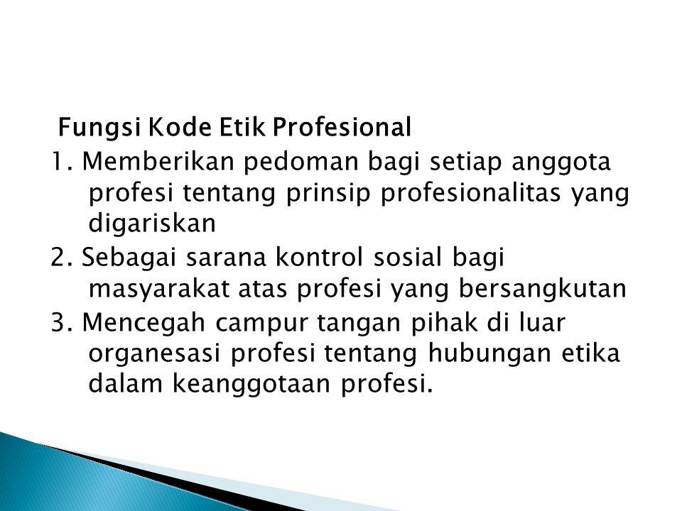 TUJUAN KODE ETIK PROFESIONAL 1. Untuk menjunjung tinggi martabat profesi 2. Menjaga dan memelihara kesejahteraan para anggota 3. Meningkatkan pengabdi