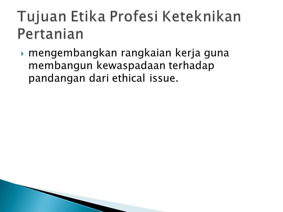  Etika Profesi Keteknikan adalah etika yang diterapkan dalam bidang keahlian teknik pertanian, yang memaparkan mengenai tatacara bekerja bagi seorang