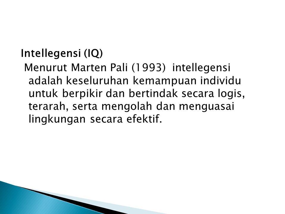 IQ = Intelegence Quotient (Kecerdasan mengerjakan atau melakukan) EQ= Emotional Quotient (Kecerdasan Emosi) SQ= Spiritual Quotient (Kecerdasan Spiritu