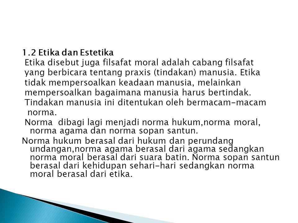 Etika adalah refleksi dari apa yang disebut dengan
