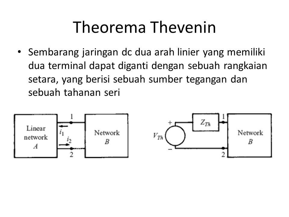 Theorema Thevenin Sembarang jaringan dc dua arah linier yang memiliki dua terminal dapat diganti dengan sebuah rangkaian setara, yang berisi sebuah su