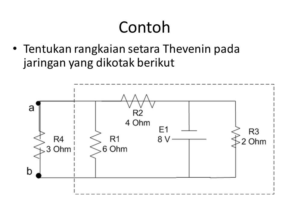 Contoh Tentukan rangkaian setara Thevenin pada jaringan yang dikotak berikut