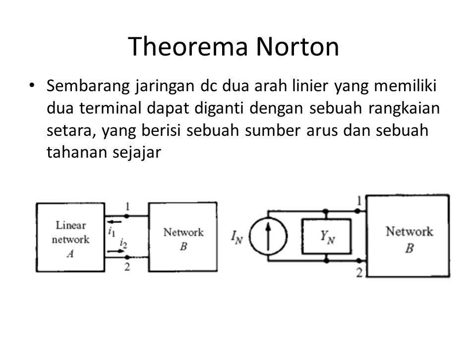Theorema Norton Sembarang jaringan dc dua arah linier yang memiliki dua terminal dapat diganti dengan sebuah rangkaian setara, yang berisi sebuah sumb
