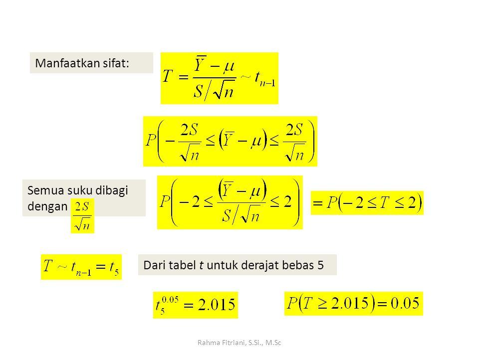 Rahma Fitriani, S.Si., M.Sc Manfaatkan sifat: Semua suku dibagi dengan Dari tabel t untuk derajat bebas 5