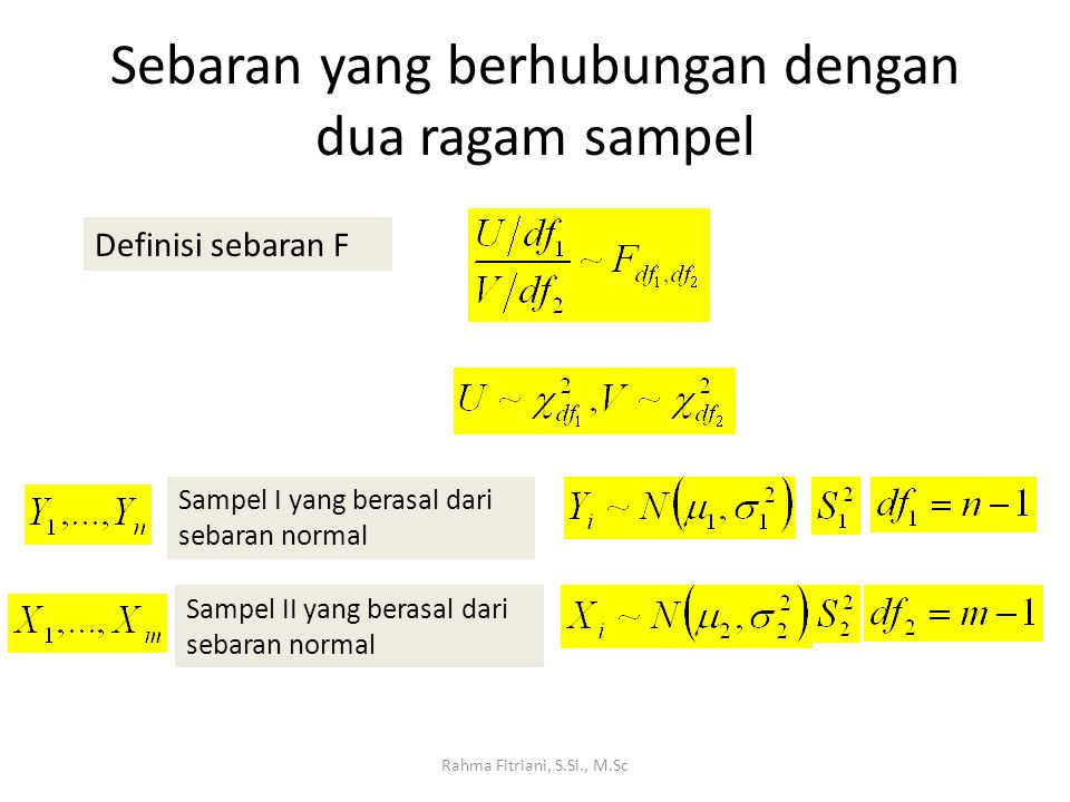 Sebaran yang berhubungan dengan dua ragam sampel Rahma Fitriani, S.Si., M.Sc Definisi sebaran F Sampel I yang berasal dari sebaran normal Sampel II ya
