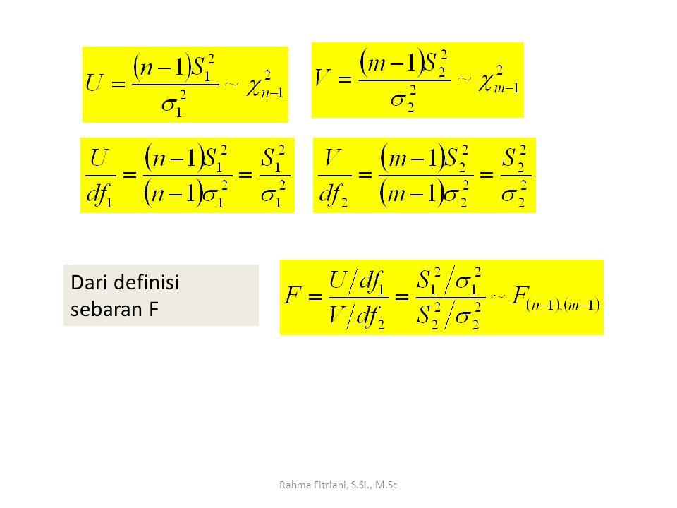 Rahma Fitriani, S.Si., M.Sc Dari definisi sebaran F