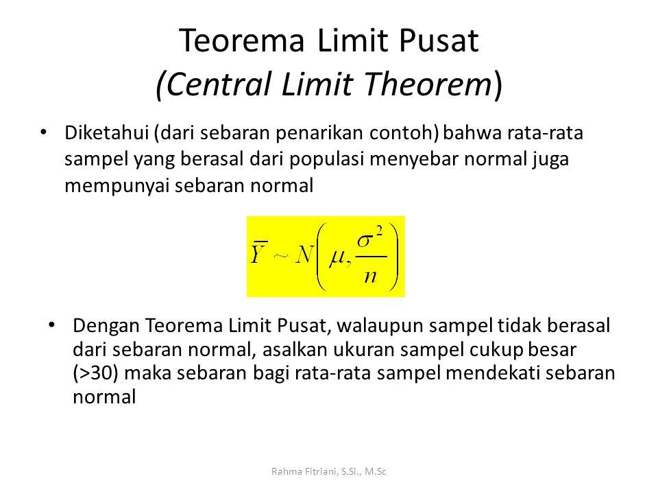 Teorema Limit Pusat (Central Limit Theorem) Diketahui (dari sebaran penarikan contoh) bahwa rata-rata sampel yang berasal dari populasi menyebar normal juga mempunyai sebaran normal Rahma Fitriani, S.Si., M.Sc Dengan Teorema Limit Pusat, walaupun sampel tidak berasal dari sebaran normal, asalkan ukuran sampel cukup besar (>30) maka sebaran bagi rata-rata sampel mendekati sebaran normal