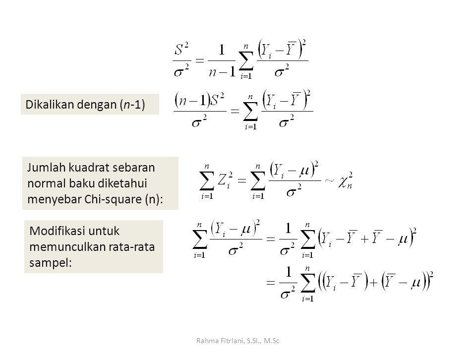 Dikalikan dengan (n-1) Modifikasi untuk memunculkan rata-rata sampel: Jumlah kuadrat sebaran normal baku diketahui menyebar Chi-square (n):