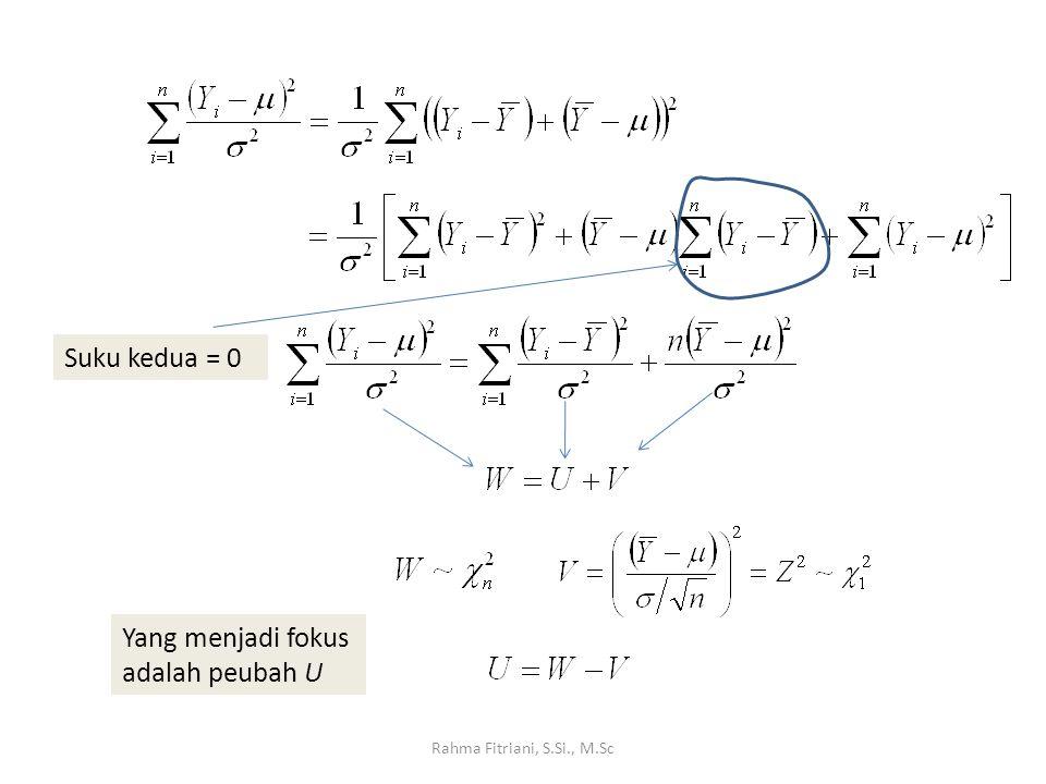 Rahma Fitriani, S.Si., M.Sc Suku kedua = 0 Yang menjadi fokus adalah peubah U