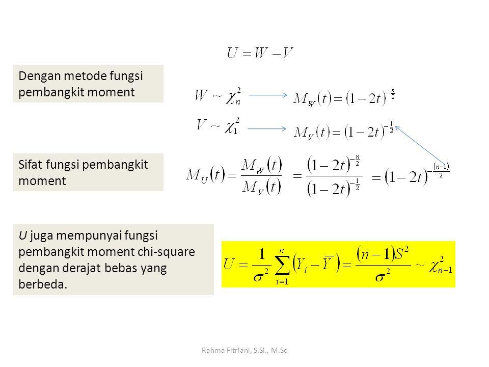 Rahma Fitriani, S.Si., M.Sc Dengan metode fungsi pembangkit moment Sifat fungsi pembangkit moment U juga mempunyai fungsi pembangkit moment chi-square dengan derajat bebas yang berbeda.