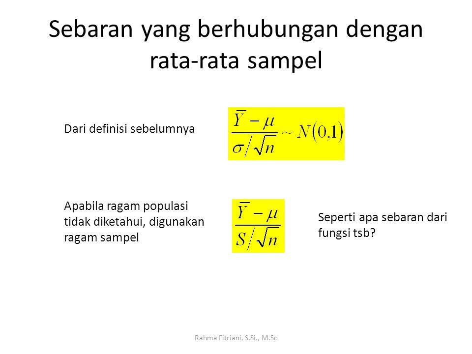 Sebaran yang berhubungan dengan rata-rata sampel Rahma Fitriani, S.Si., M.Sc Dari definisi sebelumnya Apabila ragam populasi tidak diketahui, digunakan ragam sampel Seperti apa sebaran dari fungsi tsb