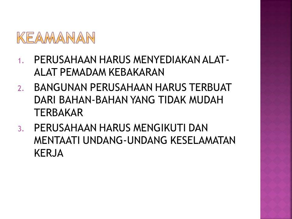 1.PERUSAHAAN HARUS MENYEDIAKAN ALAT- ALAT PEMADAM KEBAKARAN 2.