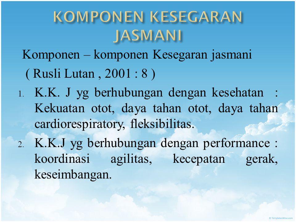 Komponen – komponen Kesegaran jasmani ( Rusli Lutan, 2001 : 8 ) 1.