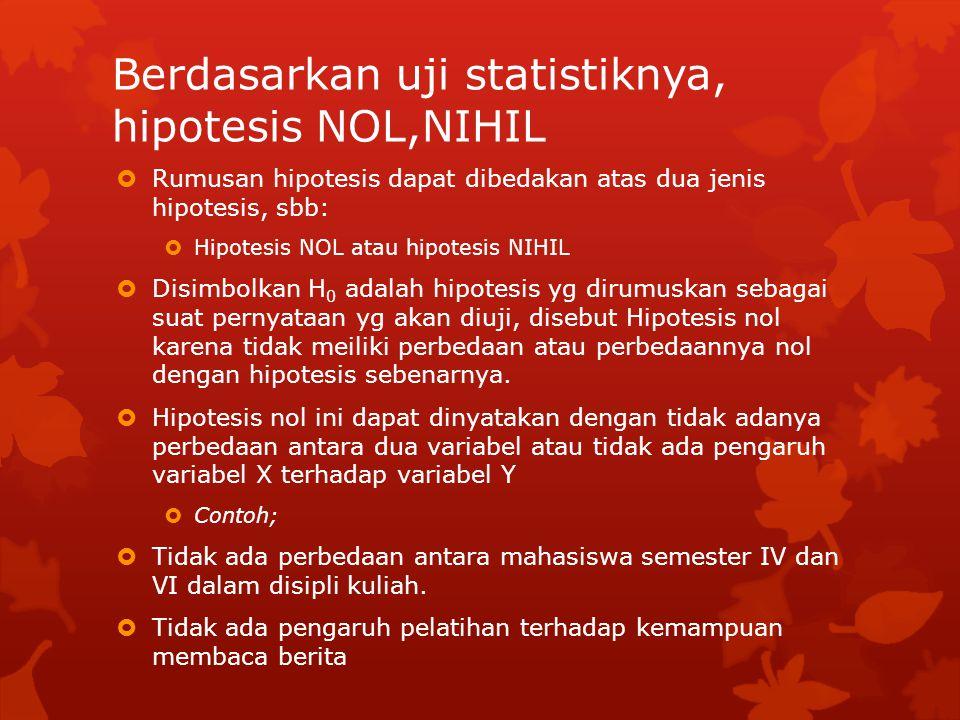 Berdasarkan uji statistiknya, hipotesis NOL,NIHIL  Rumusan hipotesis dapat dibedakan atas dua jenis hipotesis, sbb:  Hipotesis NOL atau hipotesis NIHIL  Disimbolkan H 0 adalah hipotesis yg dirumuskan sebagai suat pernyataan yg akan diuji, disebut Hipotesis nol karena tidak meiliki perbedaan atau perbedaannya nol dengan hipotesis sebenarnya.
