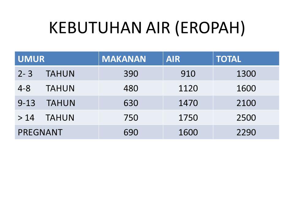 KEBUTUHAN AIR (EROPAH) UMURMAKANANAIRTOTAL 2- 3 TAHUN3909101300 4-8 TAHUN48011201600 9-13 TAHUN63014702100 > 14 TAHUN75017502500 PREGNANT69016002290